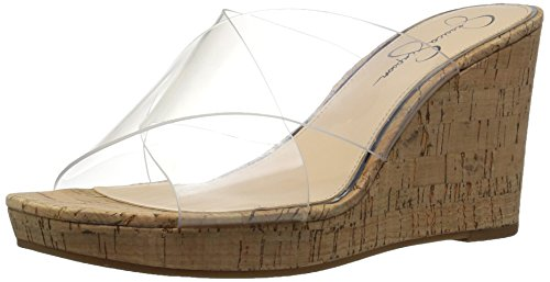 Jessica Simpson Women's Seena Wedge Sandal, Clear, 5.5 Medium US Clear Cork Wedge