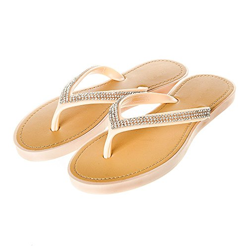 Womens Ladies Slip On Jelly Diamante Toe Post Flip Flop Summer Shoes Nude QFtSx5dr