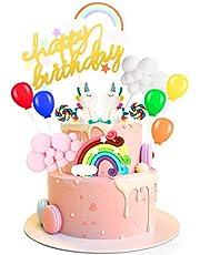 Decoración Para Tartas de Unicornio, Decoraciones de Pasteles de Cumpleaños para Infantiles Niños Niñas con Arcoiris y Globos, Adornos para Fiestas, Bodas, Aniversarios y Baby Shower