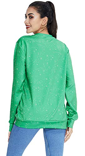 90s Women's Ugly Christmas Sweatshirts Green Sexy Bras for Ladies Printing Pullover Long Sleeve Shirt Tops for Teen Juniors Winter Casual Indoor Party Haliday Warn Clothes L Green