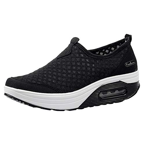 ANOKA Running Shoes Women Sale Outdoor Mesh Casual Sports Shoes Thick-Soled Air Cushion Shoes Sneakers Black Size 5