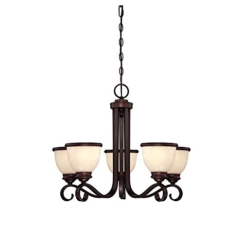 Savoy House 1-5774-5-13 Chandelier with Cream Marble Shades, English Bronze Finish