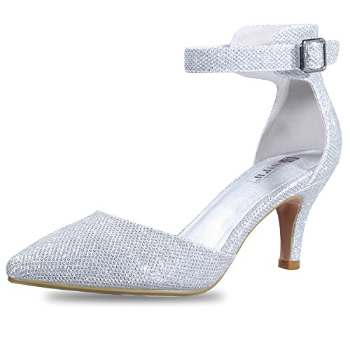 IDIFU Women's IN3 D'Orsay Pointed Toe Ankle Strap Mid Heel Pump (Silver Glitter, 11 B(M) US) from IDIFU