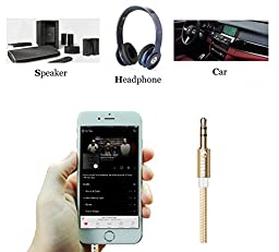 Cone 3.3 Ft Nylon Audio Cable ,3.5mm Aux Cord , Auxiliary / Aux Cable for Car / home Stereo ,Beats Headphone,iphone,Computer,Speaker,MP3 Players ( Gold )