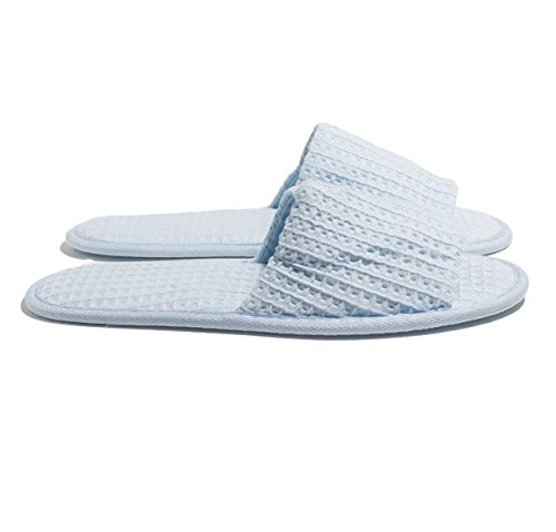 NkBk 6 One Size coloured Open toed Waffle Spa Slippers Skyblue tXLKH
