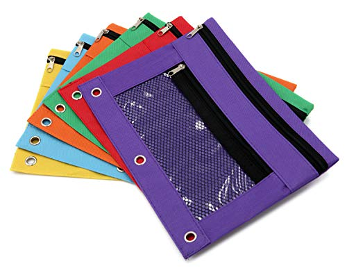 Pencil Case Pencil Pouch Zipper with 3 Ring and Double Pocket and Mesh Window(Colorful,6 Pack) by JONYEE (Image #3)