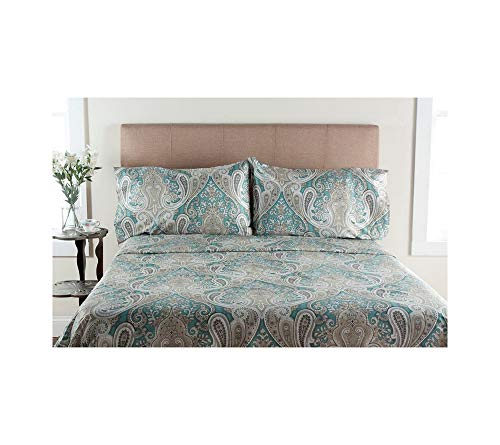 - Elite Home Products, Inc. Crystal Palace Paisley Deep Pocket Cotton Sheet Set Aqua 4 Piece King