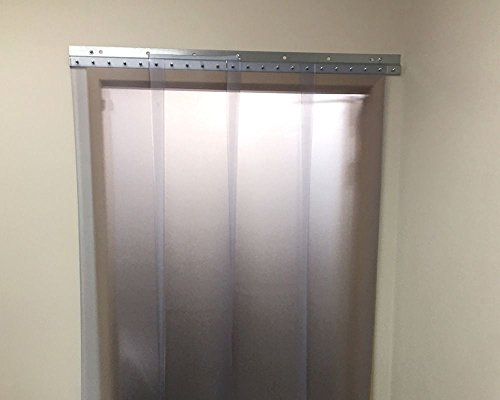 Strip-Curtains.com: Strip Door Curtain - 18 in. width X 28 in. height - Frosted (distorts clarity) 8 in. strips with 100% overlap - common door kit (Hardware included) - Pvc Door Curtain