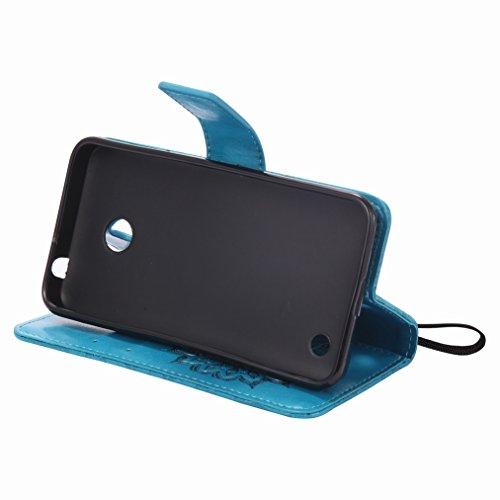 Yiizy Nokia Lumia 630 Custodia Cover, Sole Petali Design Sottile Flip Portafoglio PU Pelle Cuoio Copertura Shell Case Slot Schede Cavalletto Stile Libro Bumper Protettivo Borsa (Blu)