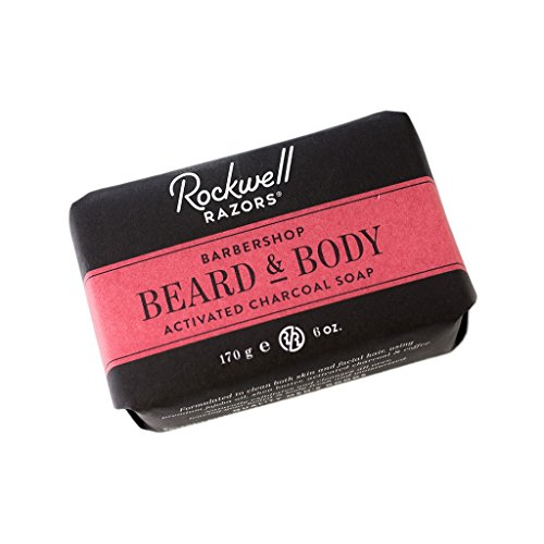 Jojoba Oil Butter Soap - Rockwell Beard & Body Bar Soap - Barbershop Scent - All-Natural with Activated Charcoal, Shea Butter and Jojoba Oil, Organic Coffee Exfoliant - 6oz