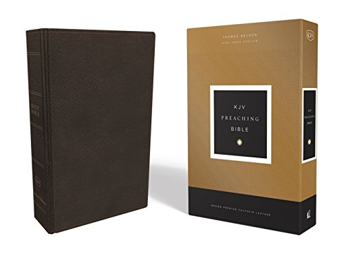 KJV, Preaching Bible, Premium Calfskin Leather, Brown, Comfort Print: Holy Bible, King James Version (Premium Outlets La)