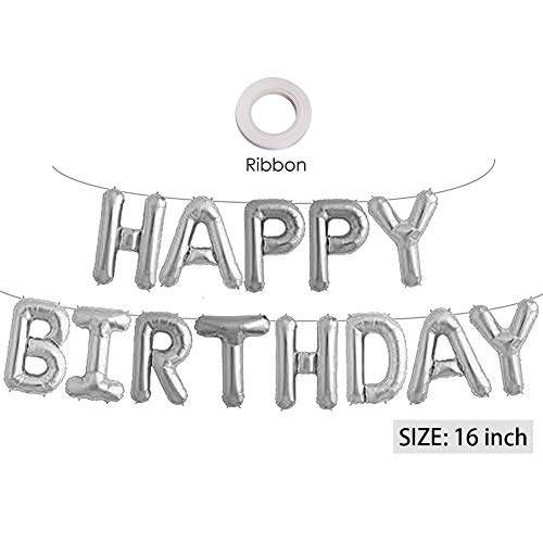 (Silver Happy Birthday Banner Balloons, 16 Inch Mylar Foil Letters Balloons Banner Reusable Ecofriendly Materialfor Birthday Decorations and Party Supplies(with Ribbon))
