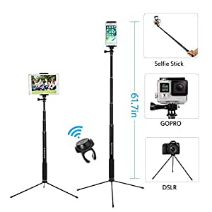"""61"""" Bluetooth Selfie Stick Tripod with Remote for iPhone X 8 Plus 7 Plus 6S Plus Samsung Galaxy S8 S7 iPad Gopro, Moreslan 3 in 1 Extendable Monopod Tripod Stand for SLR Camera 360° Rotation"""