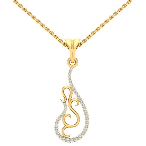14 K Or jaune 0.18 CT TW Round-cut-diamond (IJ | SI) diamant Pendentif