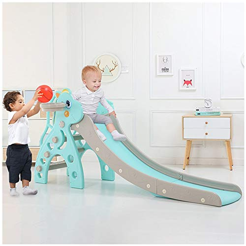 XBKPLO Kids Slide, Sturdy Toddler Playground Slipping Slide Climber for Indoor Outdoors Use, Children Toy Playset with Basketball Hoop for Outside Games, Playground Equipment Set, Easy Setup