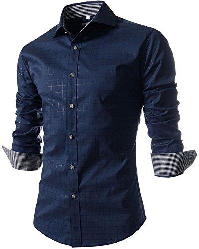 Benibos Men's Casual Long Sleeve Plaid Slim Fit Dress Shirts (L, Navy)