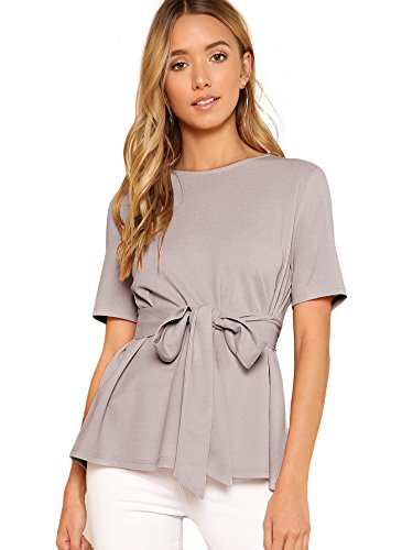 Romwe Women's Casual Self Tie Summer Round Neck Short Sleeve Blouse Tops Grey Large ()