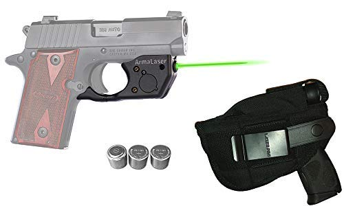 Laser Kit for SIG Sauer P238 & P938 w/LASERPRO Holster, Touch-Activated ArmaLaser TR8-G Green Laser Sight & 2 Extra Batteries