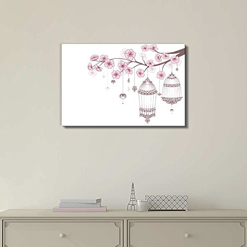 Cages of Birds on a Blooming Cherry Branch Wall Decor