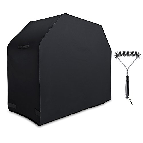 Antree Grill Cover, 58-Inch 600D Heavy Duty Waterproof BBQ Gas Grill Cover for Weber, Holland, Jenn Air, Brinkmann and Char Broil-Black with Handles Including Grill Brush.