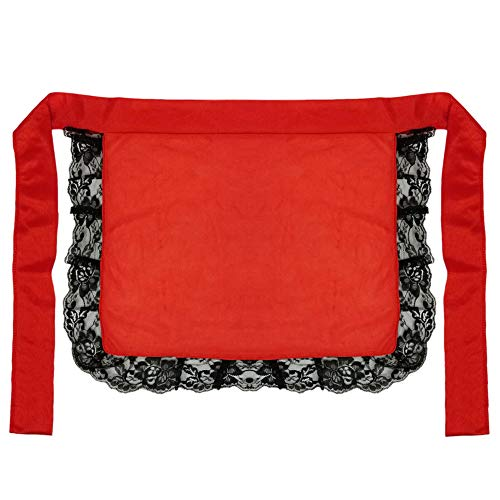 Adult/Teen Red Nurse or Maid Apron with Black Lace Ruffles ~ Halloween Costume]()