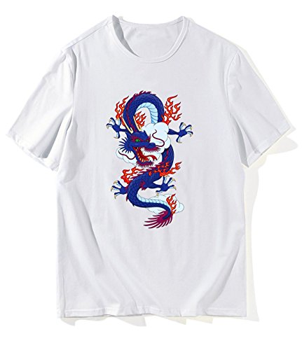 HLZSLt Chinese Dragon A1 T-Shirts for Mens M White