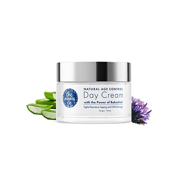 The Moms Co Natural Age Control Day Cream l Face Cream l Reduce Fine Lines, Wrinkles & Sun Protection l Anti Ageing with… 2021 August Natural age control day cream has bakuchiol (a natural alternative to Retinol) & green tea extract which stimulates collagen production & diminishes signs of aging Natural age control day cream has zinc oxide that shields the skin from external factors of cell damage like pollution particles, sun light, temperature and chemical stress Natural age control day cream has hyaluronic acid which has the unique capacity to bind and retain water molecules combined with aloe vera juice to soothe & hydrate the skin