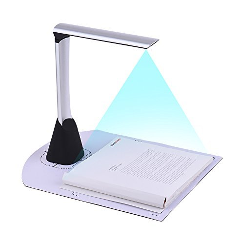 Aibecy Portable High Speed USB Book Image Document Camera Scanner 5 Mega-pixel HD High-Definition Max. A4 Scanning Size with OCR Function LED Light for Classroom Office Library Bank