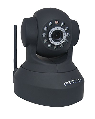 Foscam FI8918W Wireless/Wired Pan & Tilt IP/Network Camera with 8 Meter Night Vision - Black (Certified -