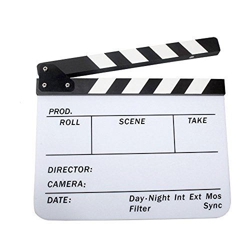 Acrylic Clapboard 9.6x11.7''/25x30cm Dry Erase Director Film Movie Clapper Board Slate - White by Coolbuy112
