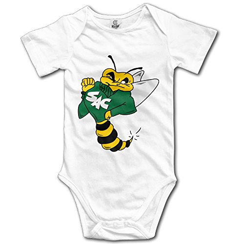 HYRONE Sacramento State Cartoon Bee Baby Bodysuit Long Sleeve Climbing Clothes Size 12 Months White