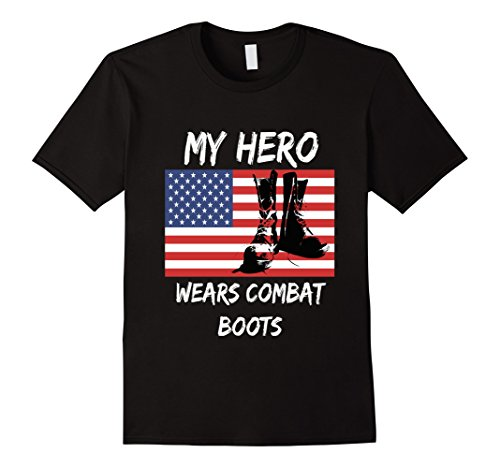 Mens Patriotic My Hero Wears Combat Boots USA Flag Veteran tshirt Large (Wears Combat Boots)