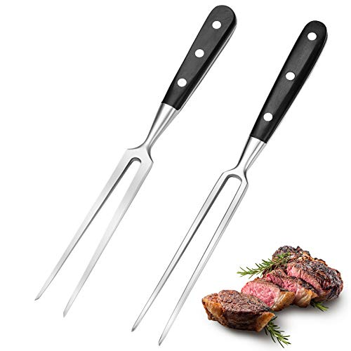 2 Pieces Carving Forks 12 Inch Stainless Steel Meat Fork Barbecue Fork Steak Fork for Kitchen Roast Grilling (Round…