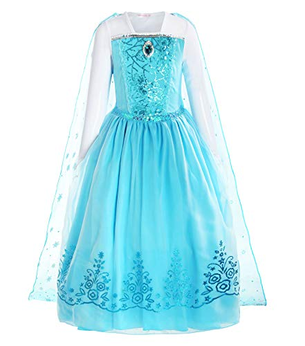 ReliBeauty Girls Sequin Princess Costume Long Sleeve Dress up, Light Blue, 4