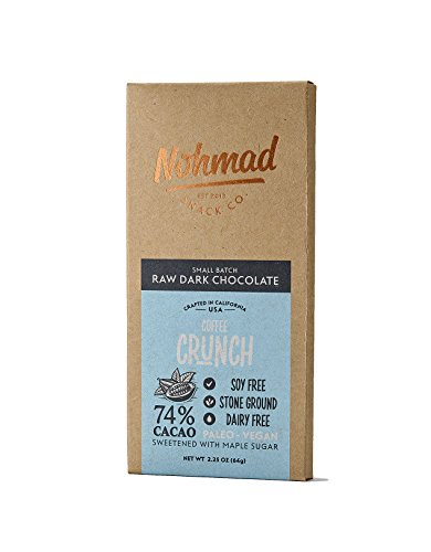 Dark Chocolate Coffee Crunch Bar by Nohmad Snack Co | Vegan Coffee Chocolate with 74% Cacao | Soy Free, Dairy Free, Paleo Diet Friendly | Crafted with Real Coffee Beans and Raw Cacao (2 Pack) by Nohmad Snack Co