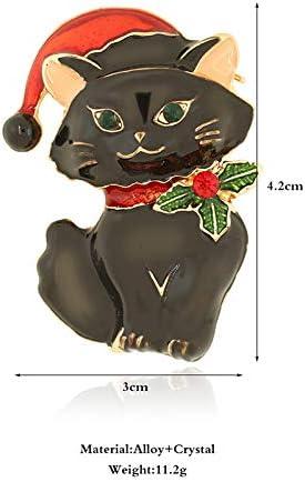 Cdet 1pc Broche Alliage D/écoration pour Manteau Robe V/êtements F/ête Cadeau Bijoux Corsage Mignon Forme de chat de noel Blanc