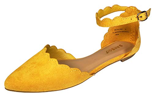 (BAMBOO Women's Scallop Edged Almond Toe Open Shank Skimmer with Ankle Strap, Marigold Faux Suede, 5.5 B (M) US)
