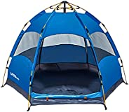 LIVINGbasics 4-Person Automatic Instant Pop-up Cabin Camping Tent with Hydraulic System Easy Setup and Pickup
