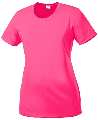 (DRI-Equip(tm) Women's All Sport Neon Color High Visibility Athletic T-Shirts-L )