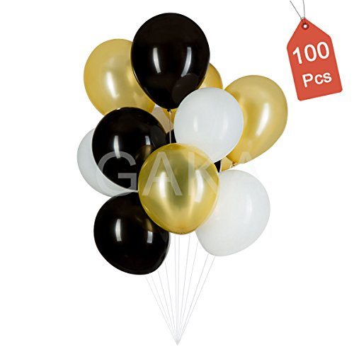12Inch Gold & Black & White Latex Party Balloons-100Pcs, Great for Birthday,Wedding,Graduation,Anniversary,Baby Shower,Holidays,Retirement,First Communion,Bridal Party Decorations (Black Gold And White Wedding)