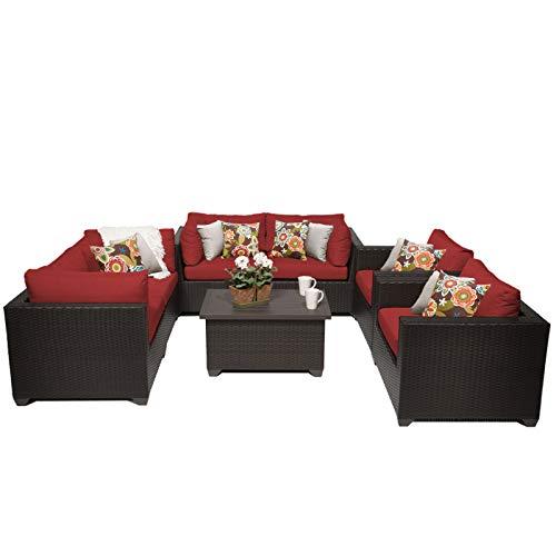 TK Classics 7 Piece Belle Outdoor Wicker Patio Furniture Set, Terracotta 07c