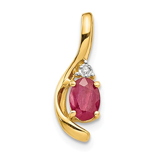 Diamond Cut Mom Heart - ICE CARATS 14kt Yellow Gold Diamond Red Ruby Pendant Charm Necklace Gemstone Birthstone July Set Style Fine Jewelry Ideal Gifts For Women Gift Set From Heart