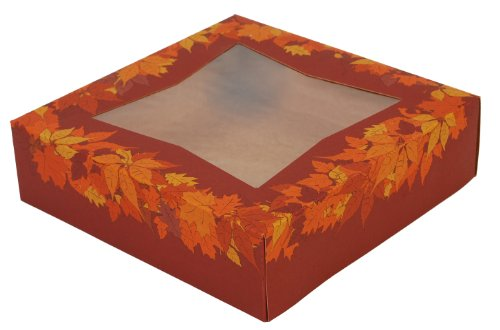 Southern Champion Tray 2464 Kraft Paperboard Autumn Design Print Window Bakery Box, 10