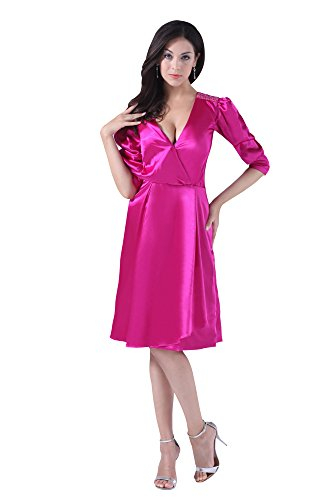 VogueZone009 Womens Half Sleeve V Neck Charmeuse Pongee Formal Dress, ColorCards, 16 by VogueZone009