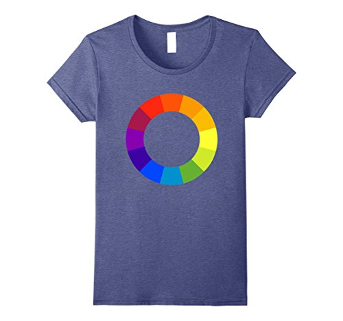 Art Graphic Tee - Womens Color Circle Palette Shirt Artist Painter Art Teacher Tshirt Medium Heather Blue