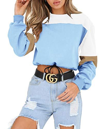 ac0aedcee6cde1 ECHOINE Women s Crewneck Sweatshirts Patchwork Long Sleeve Crop Top Blouse T -Shirt Color Blockr (
