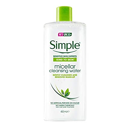 Simple agua micelar desmaquillante (2 x 400 ml) botella de tamaño grande