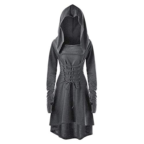 Aniywn Halloween Dress,Women Steampunk Gothic Costumes Lace Up Long Sleeve Hooded Cloak Midi ()