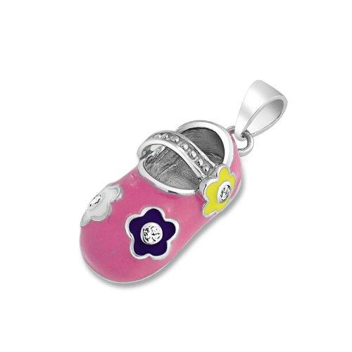 Bling Jewelry Pink Enamel Pastel Flower Baby Shoe Charm Pendant 925 Silver - Pink Enamel Shoe Charm