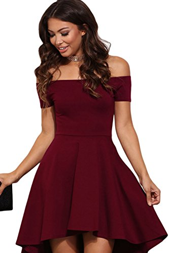 Elegante el vestido hombro alto baja oscilación de las mujeres Red